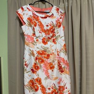 Liz Claiborne floral capped sleeve dress size 6